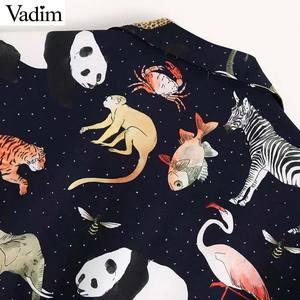 Image 4 - Vadim kadınlar chic hayvan desen baskı bluz uzun kollu turn down yaka düzensiz kadın casual gömlek retro tops blusas LA939
