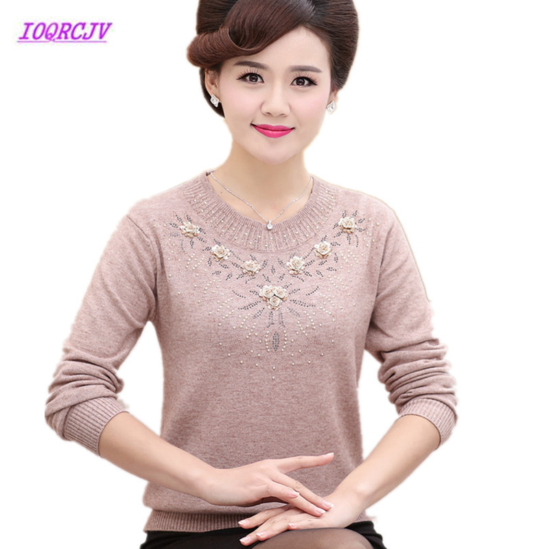 Middle-aged Women's Winter Sweaters Pullovers Plus Size 4XL Thickened Warm Bottoming O-neck Wool Sweater Mother Dress Tops W105(China)