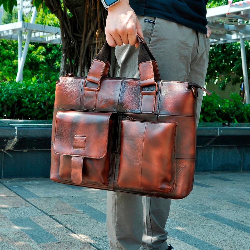 Men Genuine Leather Antique Retro Business Briefcase 15 6 Laptop Case Attache Portfolio Bag One Shoulder