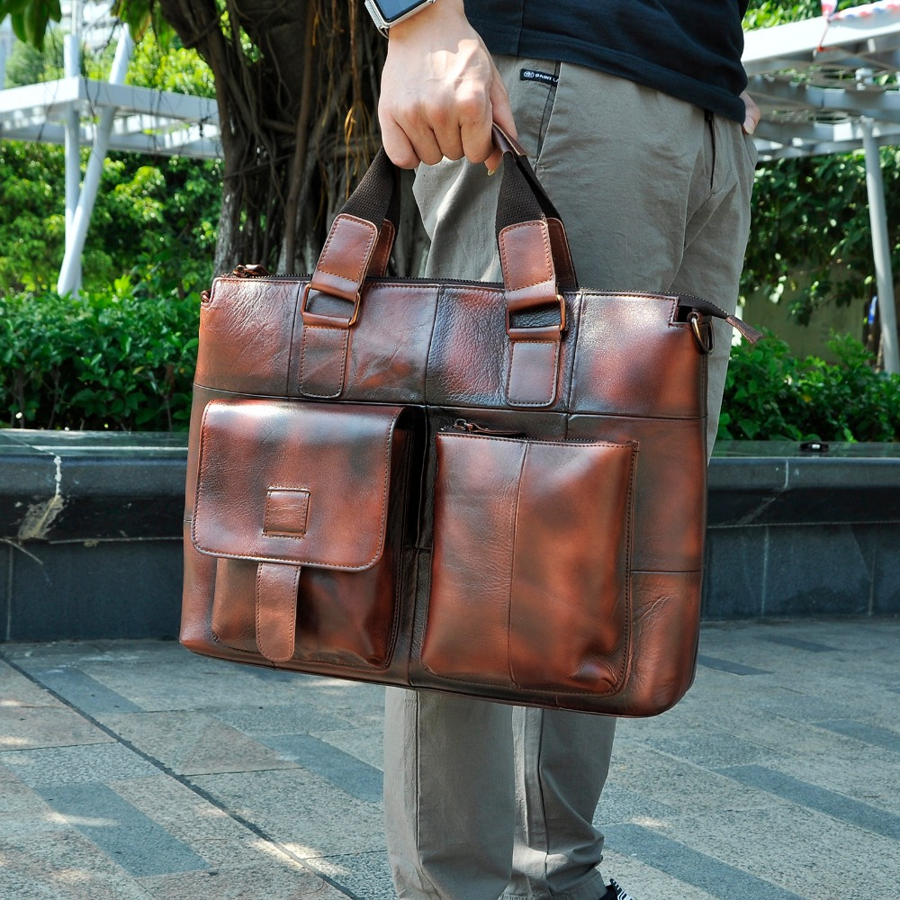 Men Genuine Leather Antique Retro Business Briefcase 15.6