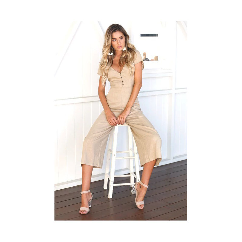 2018 Summer Women V Neck Short Sleeve Casual Jumpsuit Loose Buttons High Waist Wide Leg  ...
