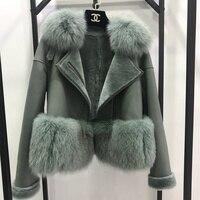 7 цветов Осень Зима теплые натуральный мех пальто для женщин с натуральным лисьим Мех животных меховая отделка из натуральной замш
