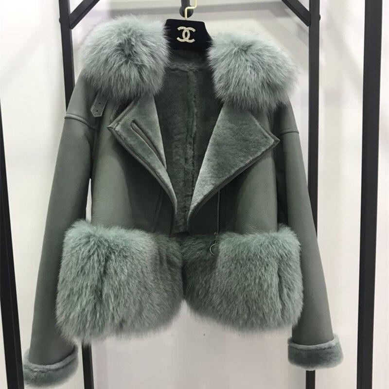 7 cores Outono Inverno Quente Real Casaco De Pele Das Mulheres Com Guarnição da Pele Verdadeira Raposa casacos De Peles De Couro Genuíno Camurça