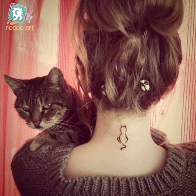 d694850cb 20 Different Black Cute Cat Tattoo Designs Water Transfer Waterproof Fake  Body DIY Tattoos Sticker on Body Hands Legs For Girls