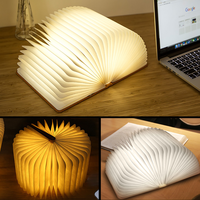 Book Shape Desk Lamp Nightlight LED Foldable Waterproof Wooden USB Rechargeable Table Light Booklight For Reading