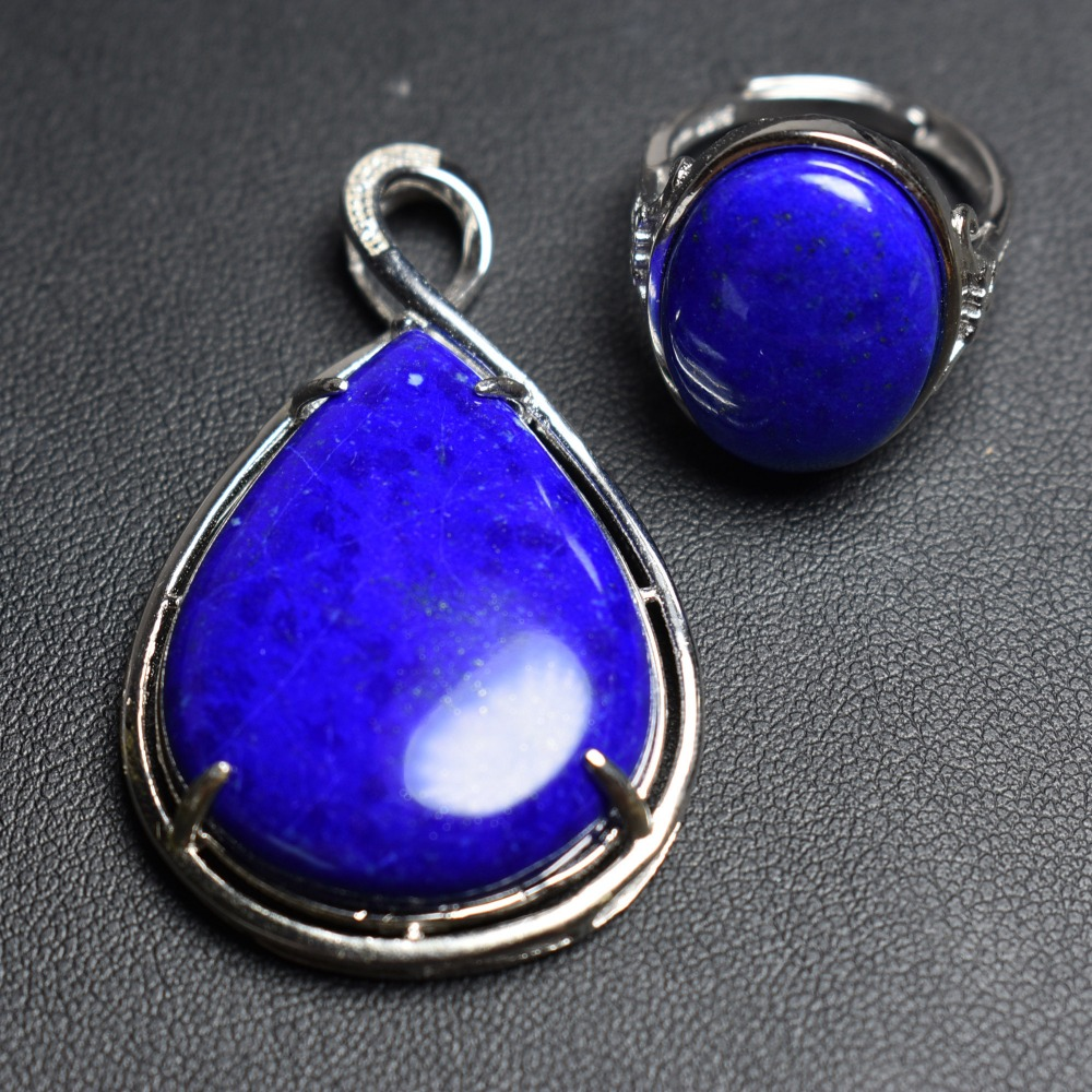 Fine Jewelry Real 925 Sterling Silver S925 Natural Blue Lapis Stones Gemstone Female Jewelry Set for Women Fine Jewelry Sets