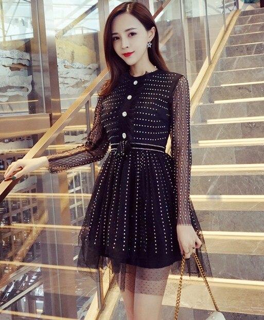 2017 Осень Новый черный цвет шить перспектива марли с длинными рукавами Сетчатое платье женщин