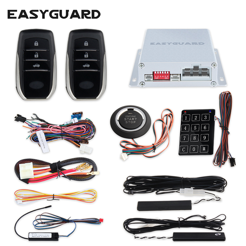 EASYGUARD PKE car alarm system push button start remote engine start stop auto passive keyless entry kit touch password keypad car alarm system pke smart key touch password entry power saving remote engine start starter push start stop button dc12v