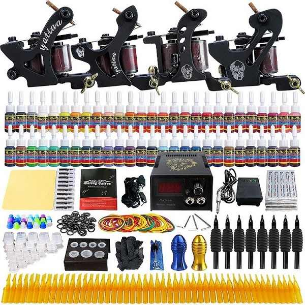Kit tattoo machine coil liner shader tattoo gun power suppliy inkt naalden handvatten compleet accesorios benodigdheden voor body kunstenaar