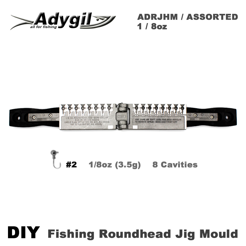 Adygil DIY Fishing Roundhead Jig Mould ADRJHM/ASSORTED COMBO 1/8oz(3.5g) 8 Cavities candy gourd ice lollipop mould assorted color