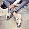 Nueva Moda slipony mujeres Ocasionales zapatos Planos de las señoras 2017 verano lentejuelas Slip On zapatos para caminar de cuero genuino Punta Redonda zapato