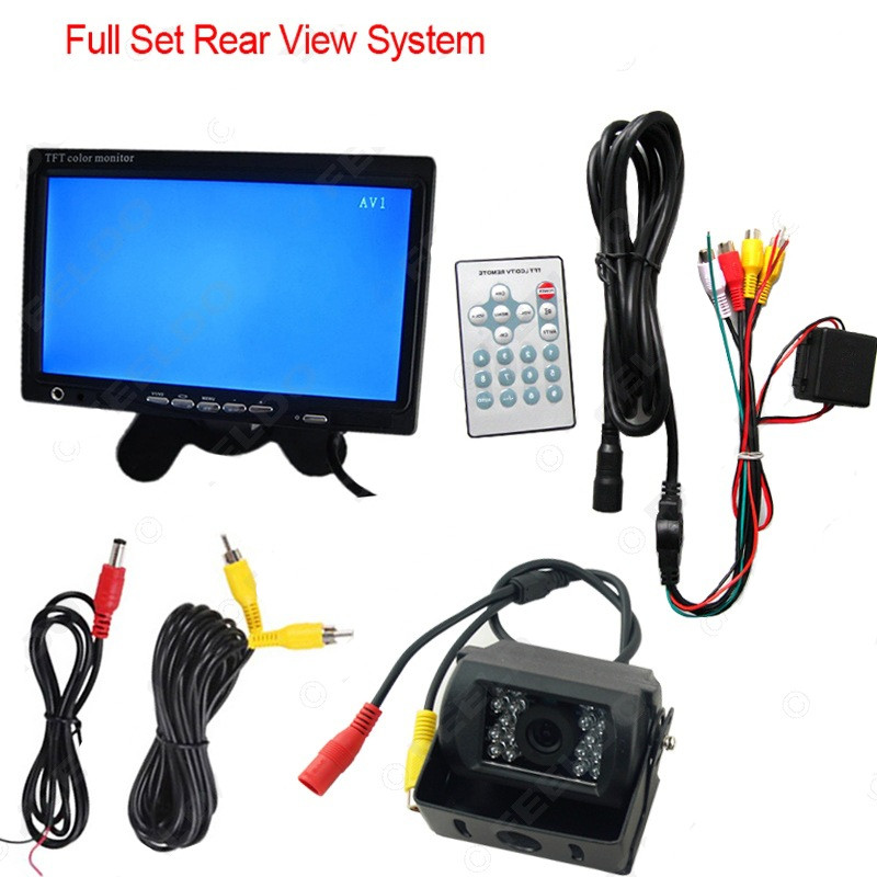 24V 7 LCD Rear View Monitor For Bus Truck RV Campe With 18pcs IR LED Night Vision Waterproof Rearview Reverse Camera dual backup camera and monitor kit for bus truck rv ir led night vision waterproof rearview camera 7 lcd rear view monitor