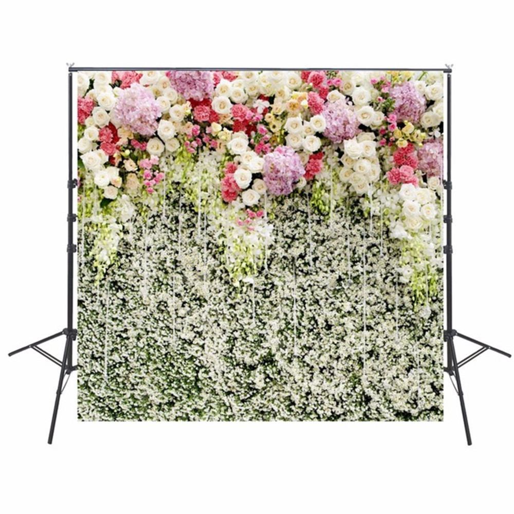 White Pink Lilac Flowers Wall Wedding Floral Photography Backdrops