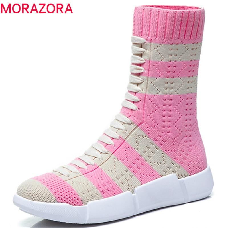 Botas Tobillo Señoras Zapatos Beige Otoño Mezclado Mujeres rosado Colores 2019 Planos Nuevo Moda Morazora Calcetines Rosa Para rojo De Tramo tEOPn