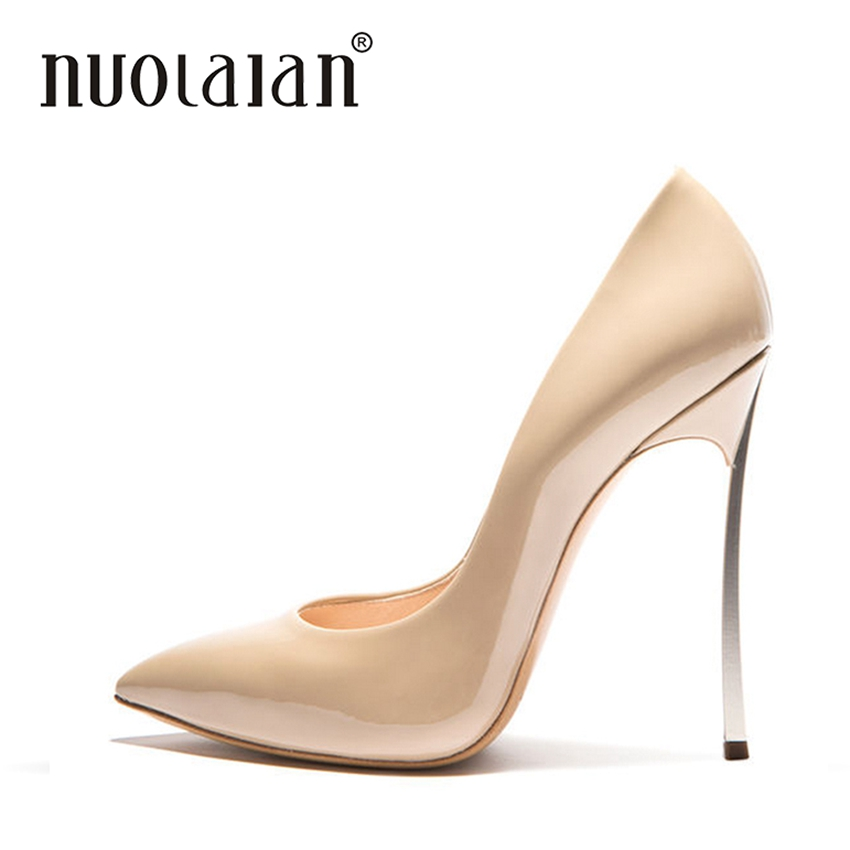 e937685a Zapatos de vestir de charol desnudo negro a la moda para mujer clásicos  zapatos de tacón alto señora Bigh tamaño vestido de boda tacones de mujer  bombas en ...