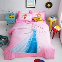 ice princess elsa bedding cotton printed bed sheet set single twin full queen size comforter pink duvet cover frozen home decor