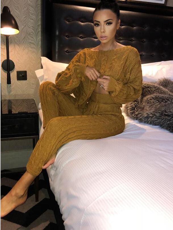 Pantalon Offre De Et Cordon jaune Net Deux Plein Tricoté Chandail 2018 Pièce Femme gris 2 Printemps Femmes Spéciale rose Costume D'o cou Nouvelles Fil Ensemble Ardoisé aqnYd