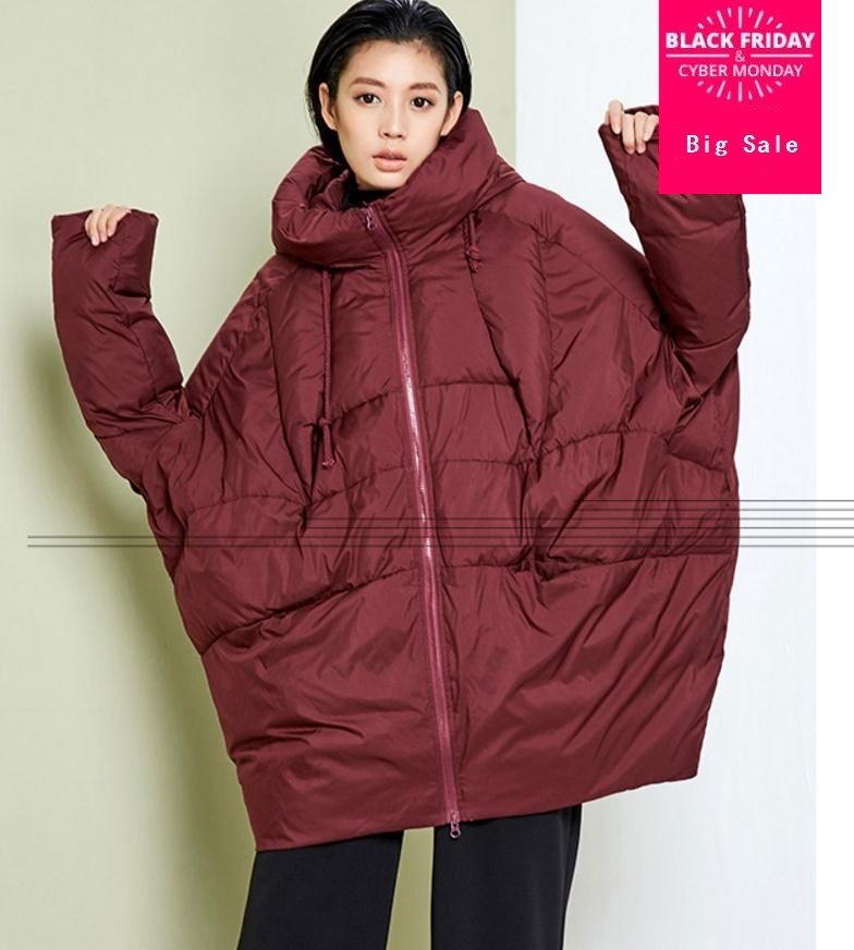 2019 new fashion brand cloak style 90% White duck   down   warm parkas   coat   female winter plus size loose style warm jacket wj1537