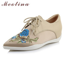 Meotina Women Shoes High Heels Natural Genuine Leather Wedge Heels Shoes Real Leather Flower Pointed Toe Pumps Lady Spring 34-40(China)