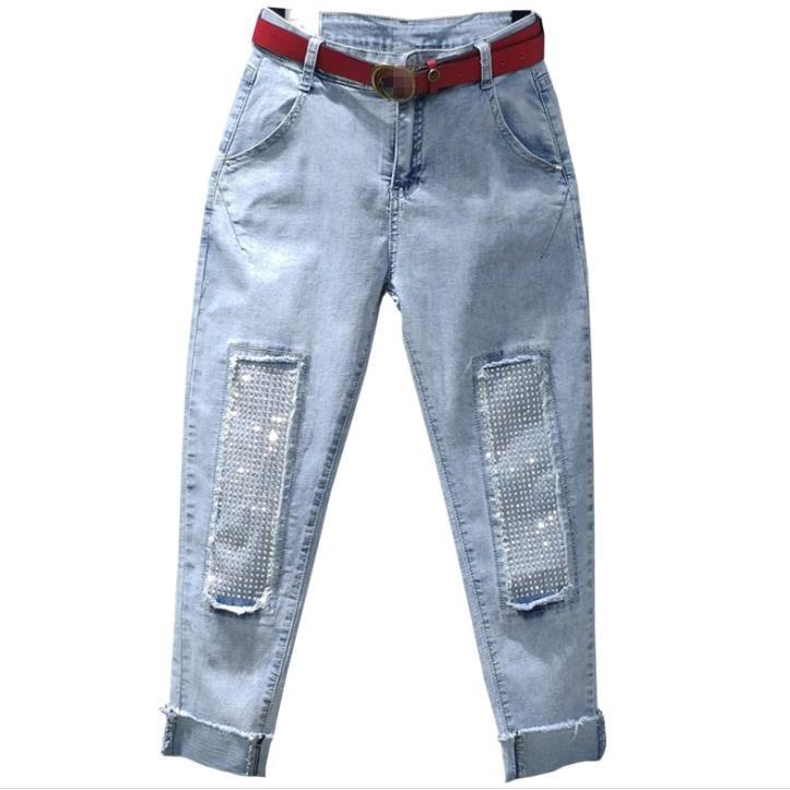 Fashion Rhinestones Diamond High Waist Women Denim Pants Casual Jeans Ankle Length Loose Harem Pants