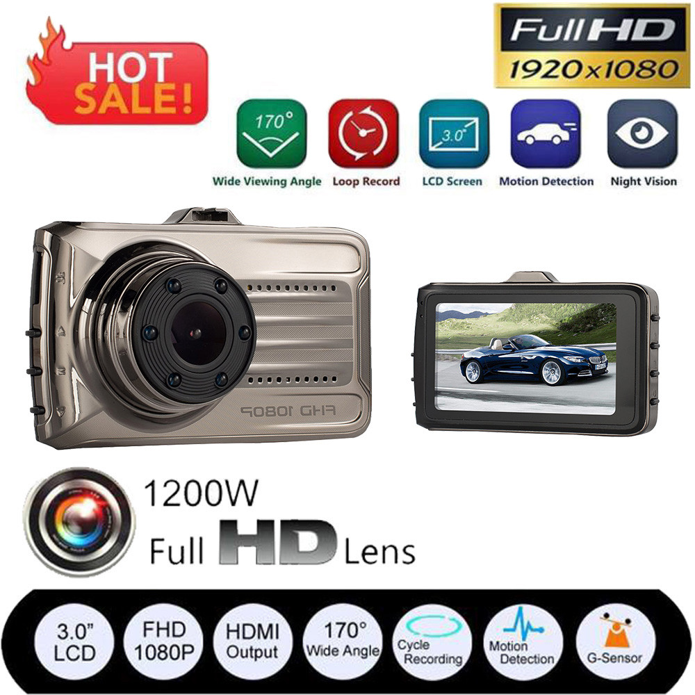 Car DVR Camera Driving Video-Recorder Night-Vision-Screen 3inch Wide-Angle 170-Degree