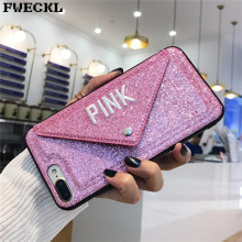 Luxury 3D Embroidery Glitter victoria secret bag phone case For iPhone 8 plus 6 6S 7 X S Cute candy Pink Phone Cover Secret Case недорого