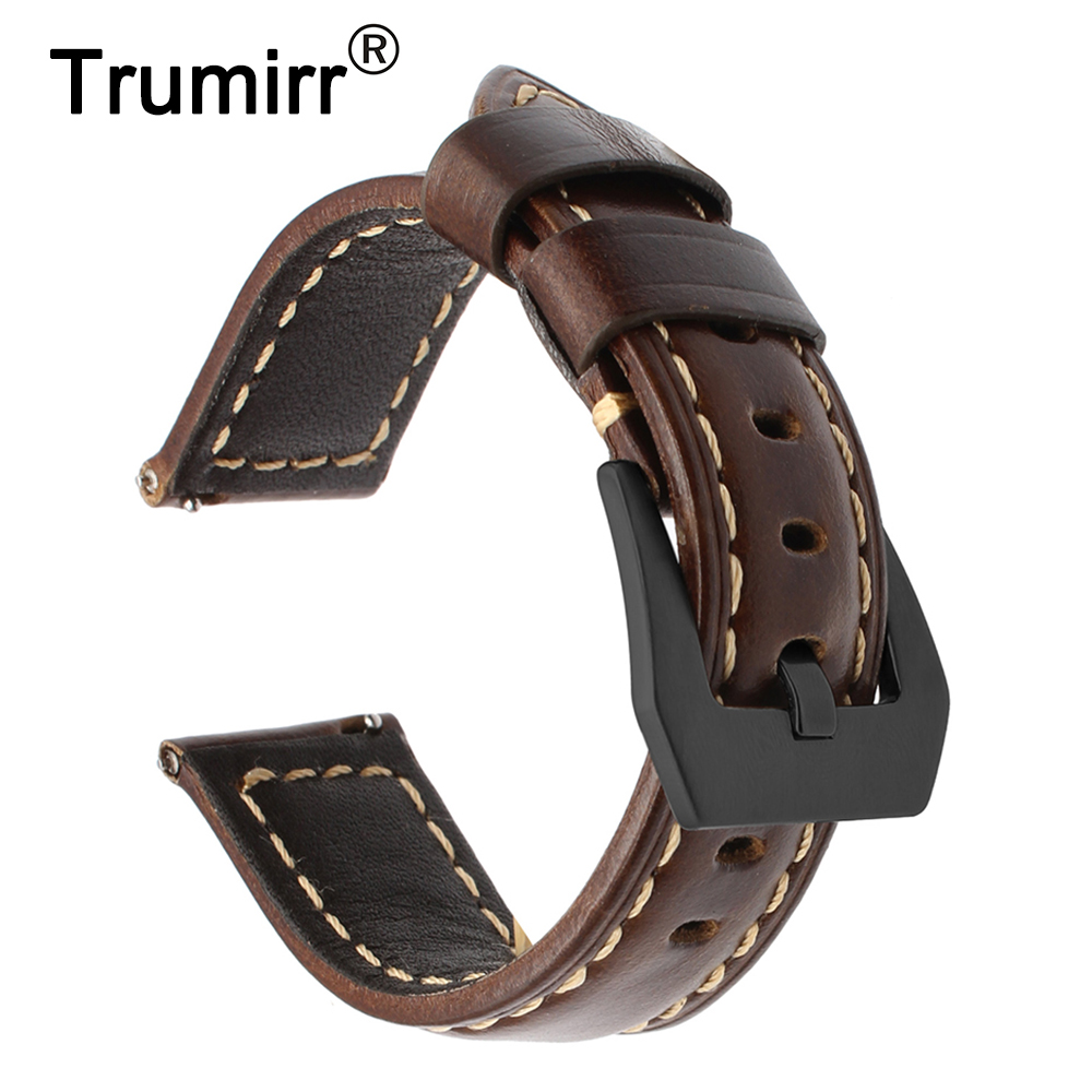 Italian Vintage Genuine Leather Watchband for Samsung Gear S3 Classic Frontier Quick Release Watch Band Steel Buckle Wrist Strap цена