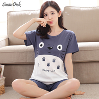 2017 New Women Summer Sleepwear Cartoon Breathable 100 Cotton Pijama Totoro Female Casual T Shirt Shorts