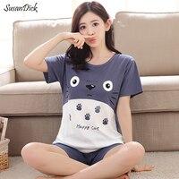 2017 New Women Summer Sleepwear Cartoon Breathable 100 Cotton Pijama Totoro Female Casual T Shirt Shorts