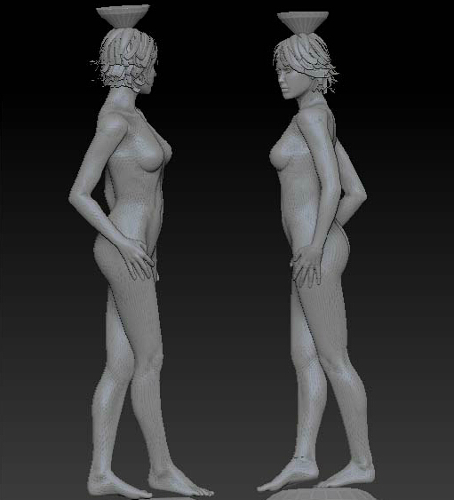 3D stl carved figure sculpture 3d model for cnc machine in STL file format Nude women 3 image