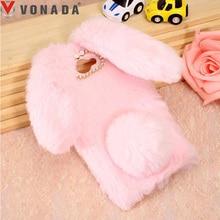 Vonada Plush Case for Huawei Honor V10 6C Pro 6X GR3 GR5 Y3 Y360 Nova 2 Plus Cute 3D Rabbit Ears Fur TPU Diamond Soft Case Cover