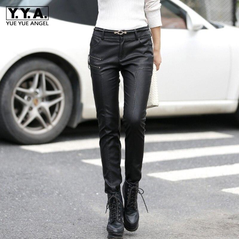 Nouveau automne femmes Faux cuir Slim Fit pantalons Leggings Skinny PU cuir femmes crayon pantalon femme mode pantalon Chic coréen