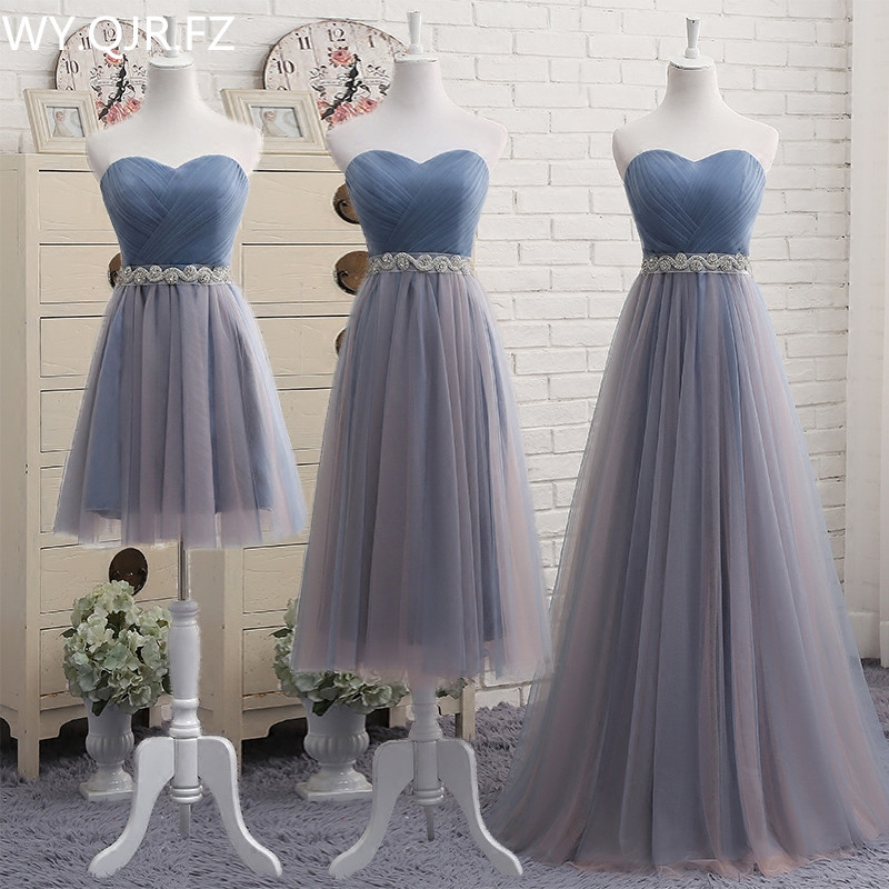 YYMY01Y#boob Tube Top Lace Up Resin Drill Ornament Short Middle Length Three Styles Bridesmaid Dresses Wedding Party Prom Dress