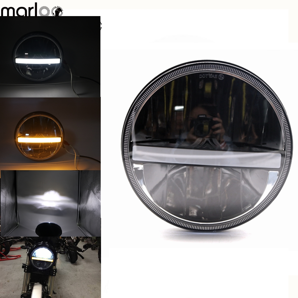 Marloo 1X Black 7 Inch Round Daymaker LED Projector Headlight For Harley Davidson Motorcycle For Jeep Wrangler LED Headlight 7 motorcycle daymaker rgb led headlight