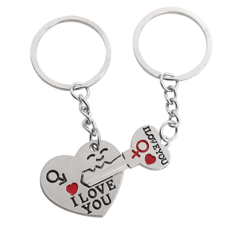 2 Pce/set Silver Plated Lover Keychain Couple I LOVE YOU Cupid Keychain Fashion Keyring The Key To The Heart Key Chain
