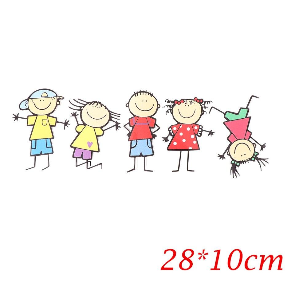 28 10cm Funny Cute Family Kids Children Cartoon Toys Boy Girl Waterproof Sticker Window Body Decal Personality Car Styling Car Stickers Aliexpress