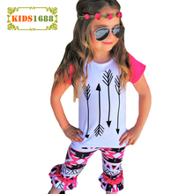 Girls Clothes Outfits 2017 Summer Boutique Kids Clothing Set Arrow T Shirt Tops+Geometry Pants 2pcs Toddler Girl Clothing Sets