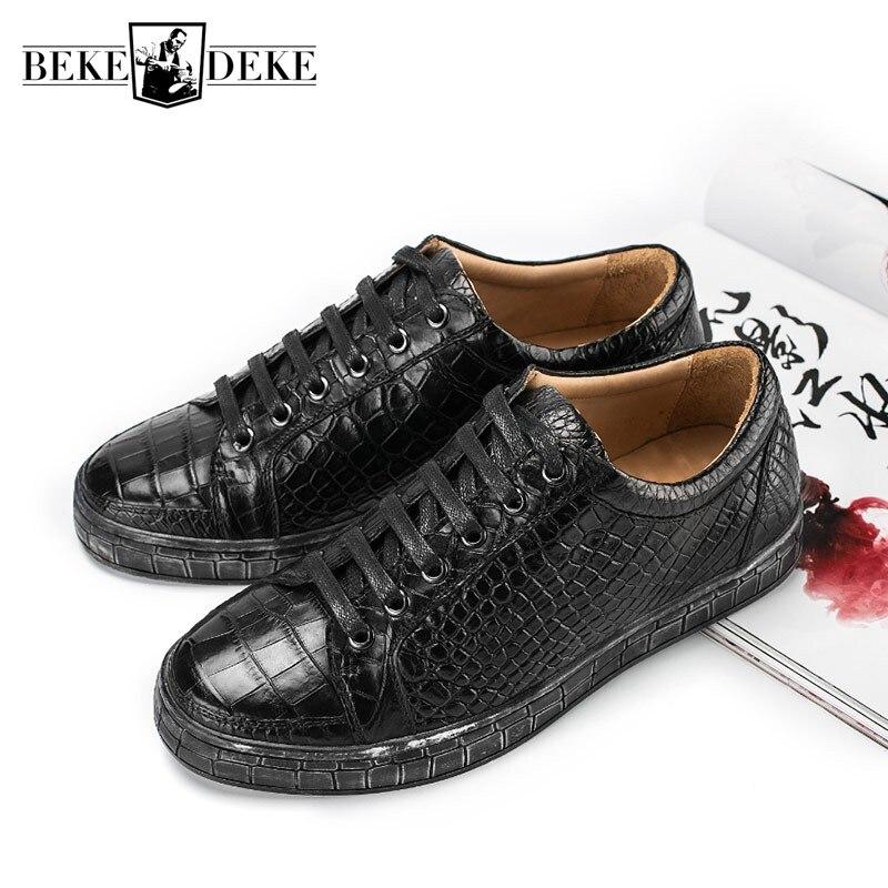 Модные деловые повседневные крокодиловые туфли из натуральной кожи мужские классические ретро туфли на шнуровке на плоской подошве роскош