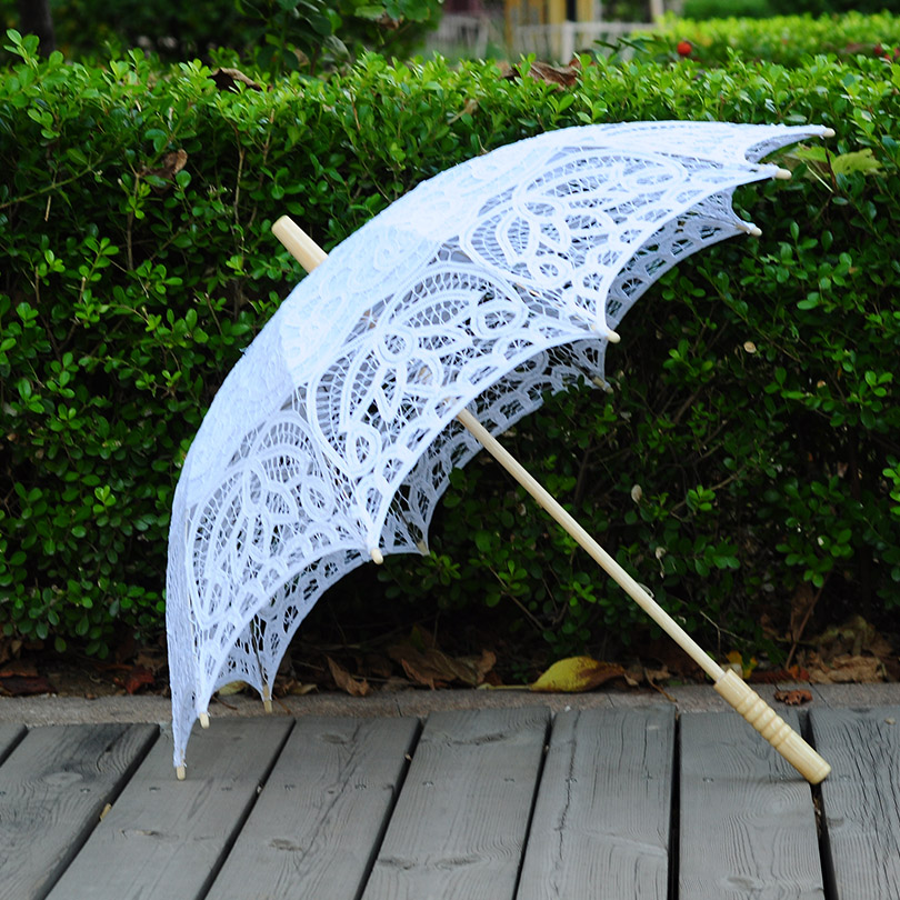 QUNYINGXIU Paraguas artesanal de encaje beige Flores de gancho hechas - Bienes para el hogar