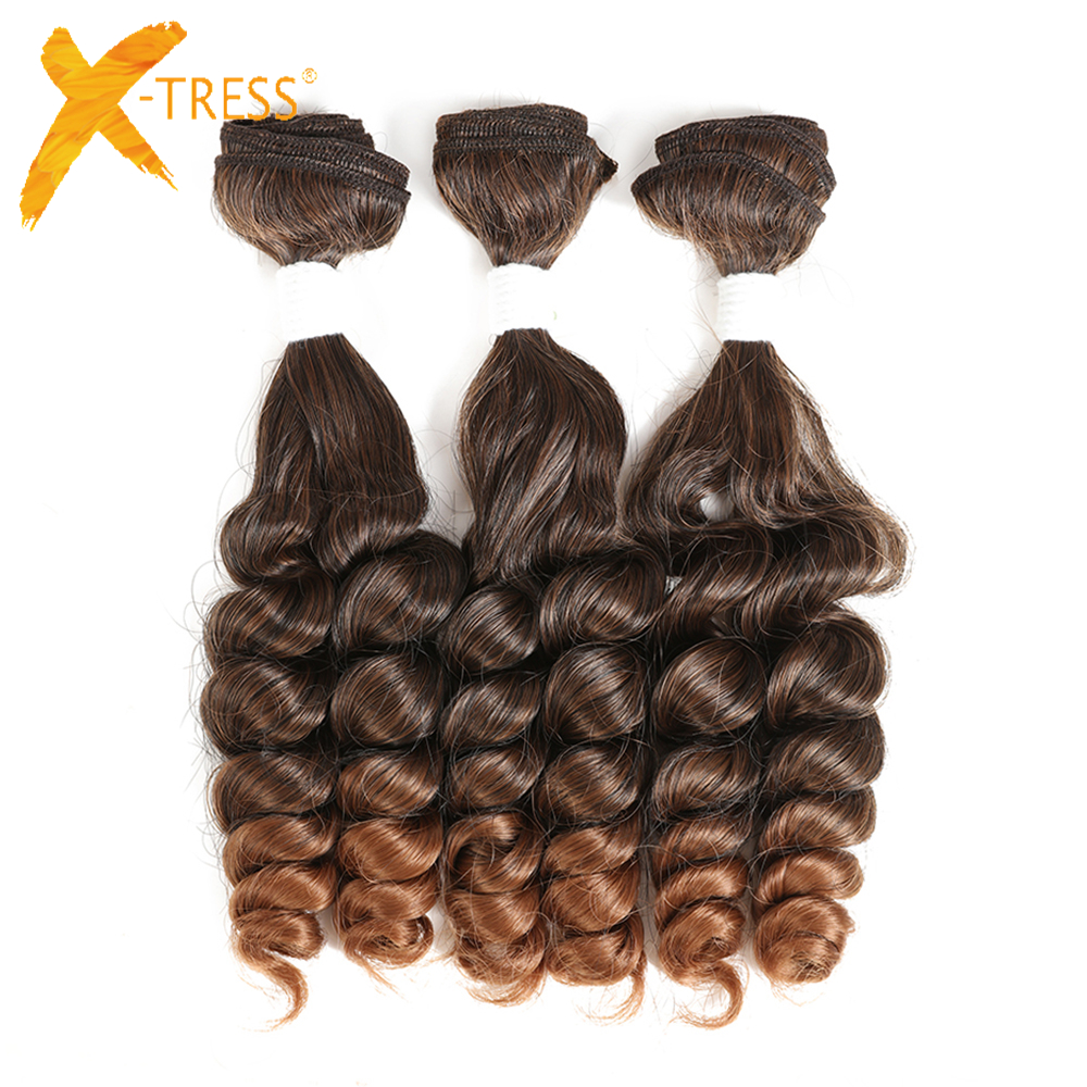 Funmi Curly Synthetic Hair Weaves 3 Bundles For Human X-TRESS Ombre Black Brown Color Hair Weaving Extensions 18'' 3 Pieces/lot