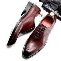 Men's natrual leather business dress suit shoes men brand Bullock genuine leather black lace up wedding shoes Phenkang