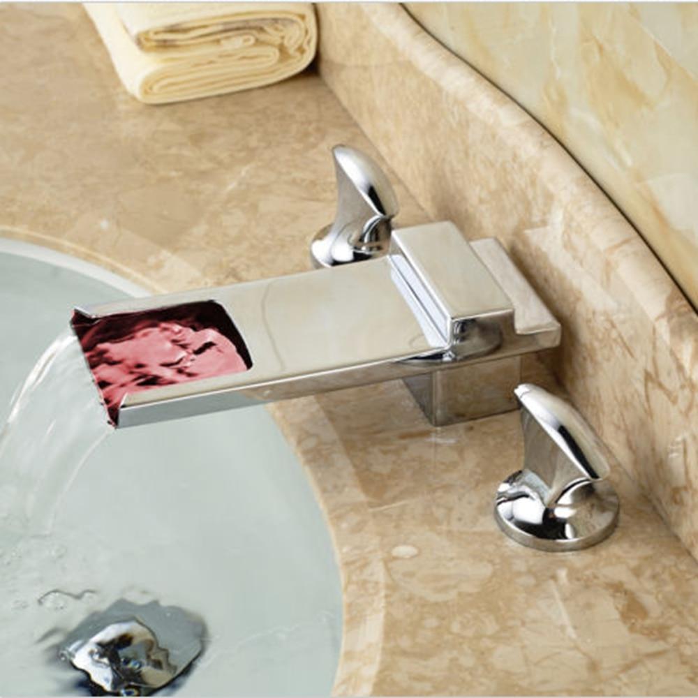 Modern Square Waterfall Bathroom Basin Faucet LED Spout Chrome Brass Mixer Tap ouboni hot sale bathroom basin faucet chrome brass mixer tap jn6116h led waterfall spout torneiras para banheiro