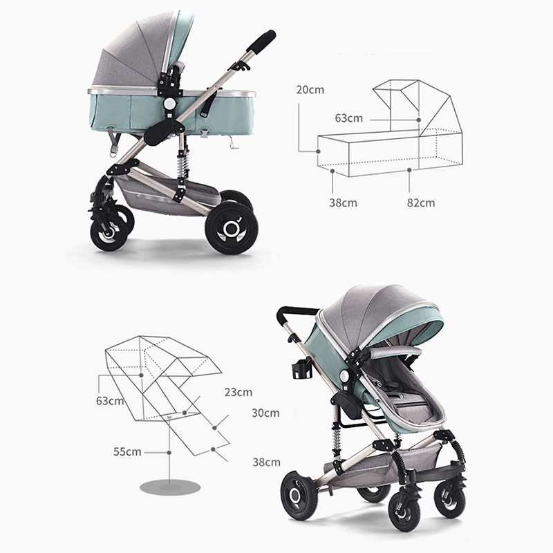 Teknum Stroller 3 In 1 High Landscape Baby Carriage With Car Seat