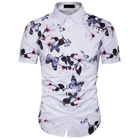 Brand New Men Shirt 2017 Personality Floral Print Shirt Men Slim Fit Short Sleeve Holiday Shirts