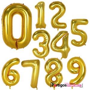 Image 3 - Globos de aluminio con número de 40 pulgadas para boda, fiesta de cumpleaños, dígitos, Globos inflables de helio, suministros de baño para bebé