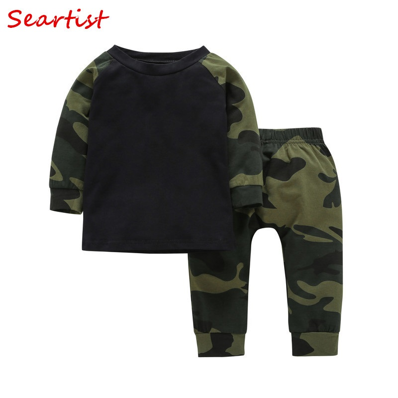 Seartist 2018 New Baby Boys Clothing Set 2PCS T-Shirt+Pants AutumnCamouflage Children Sets Suits Kids Baby Boy Clothes 35C free shipping face makeup