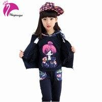 Spring Autumn Girls Clothes Kids Jacket Pants Vest 3 Pieces Tracksuit For Girls Sport Suit Casual