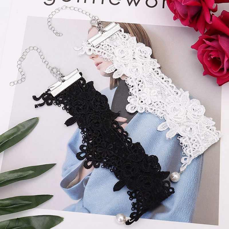 Chaud mode gothique tatouage bijoux de mariage blanc évider Rose fleur simulé perle broderie dentelle collier ras du cou pour les femmes