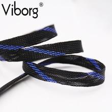10M 16MM BB-001 Nylon Sleeve Black & blue Nylon Mesh Braided Sleeving For DIY Audio Power