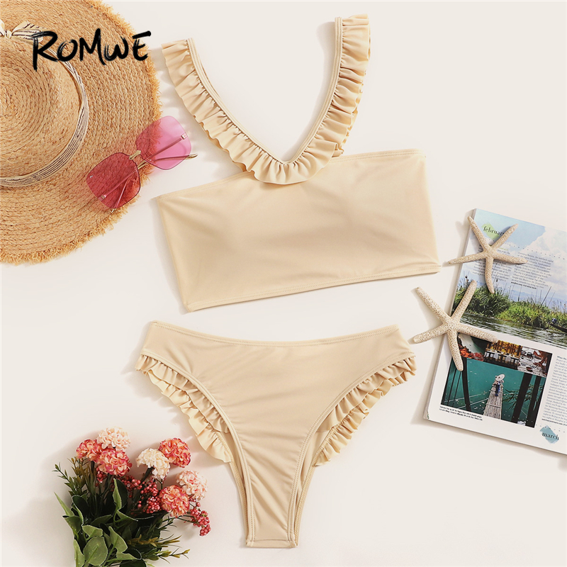 Romwe Suits Bikini-Set Beige Shoulder Two-Pieces Sport Women Summer Off with Panty The